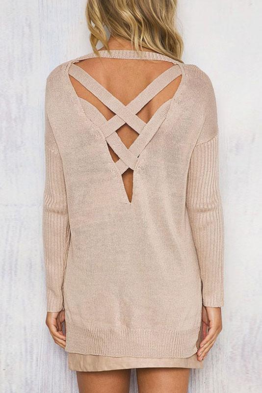 Sexy Cross Back High Low Hem Round Neck Long Sleeve Plain Sweater, Apricot