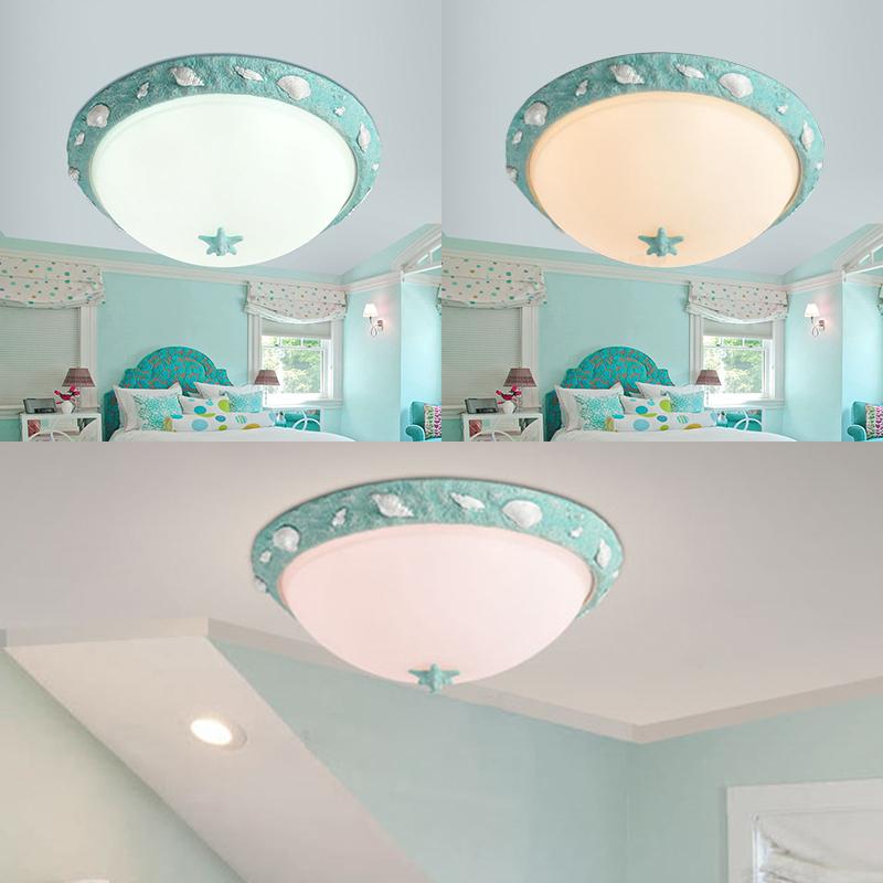 Seaside Resin Bowl Flushmount Kids Room 1 Light Ceiling Fixture
