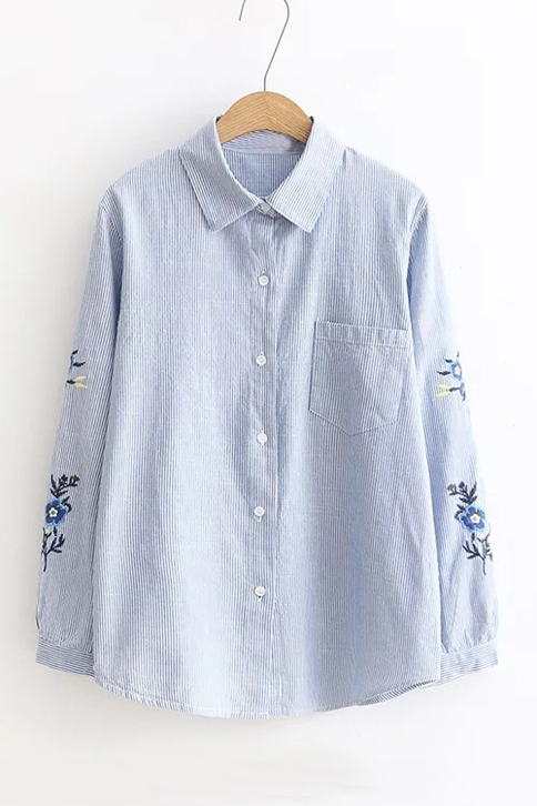 Embroidery Floral Long Sleeve Striped Single Breasted Lapel Shirt with, Blue