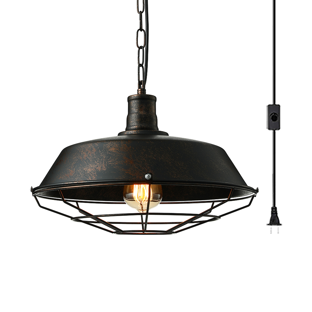 Vintage Style Barn Hanging Light With Cage 1 Light Metal Plug In Pendant Lamp In Rust For Restaurant Beautifulhalo Com