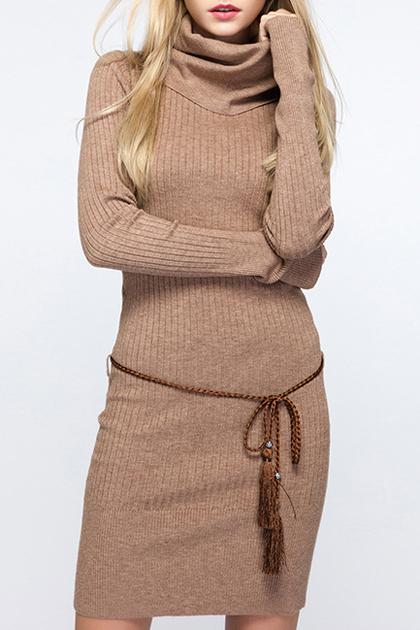 Slim Fashion High Neck Plain Midi Sweater Dress with Long Sleeve, Khaki