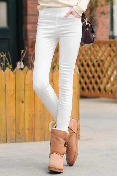 Women's Straight Leg Pants with Elastic Waistband, White