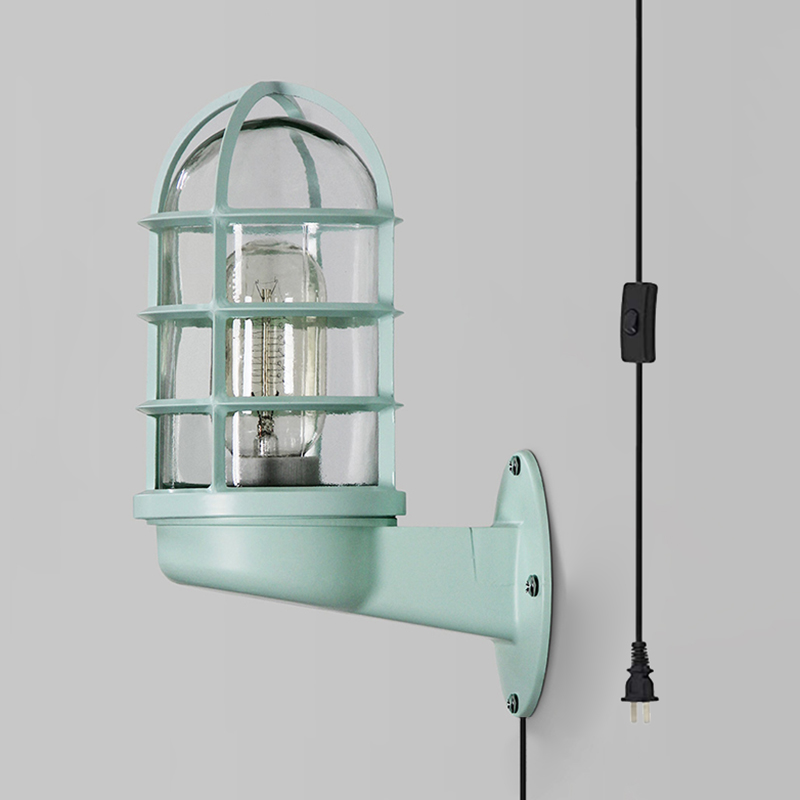 1 Light Plug In Sconce Lamp Caged