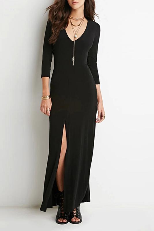 Sexy Plunge V-Neck 3/4 Length Sleeve Split Front Plain Maxi Dress, Black