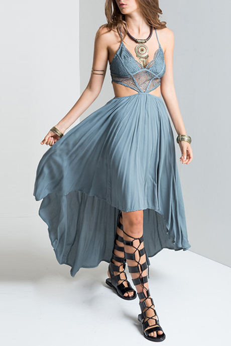 5aaf0069d2c9 Bohemian Style Sexy V-Neck Hollow Out High Low Hem Dress - Beautifulhalo.com