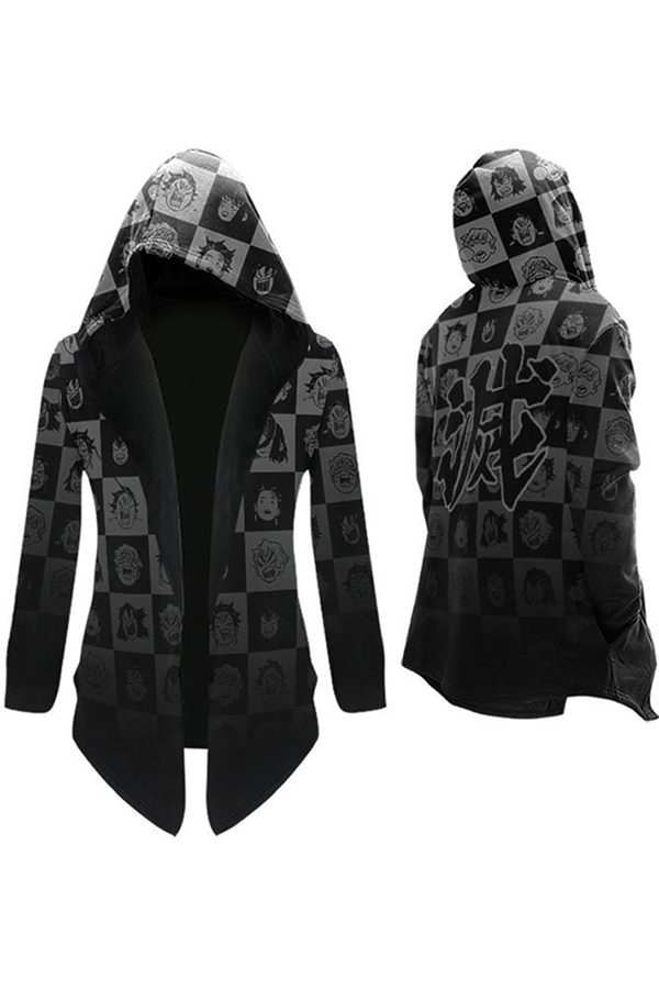 Cool Anime Mens Long Sleeve Hooded Open Front Letter Cartoon Graphic Ombre Asymmetric Hem Relaxed Hoodie Cape