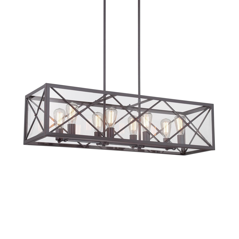 Rustic Rectangle Island Light Fixtures Metal 8 Lights Black
