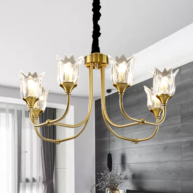 7 Heads Pendant Light Gold Chandeliers Postmodern Ceiling