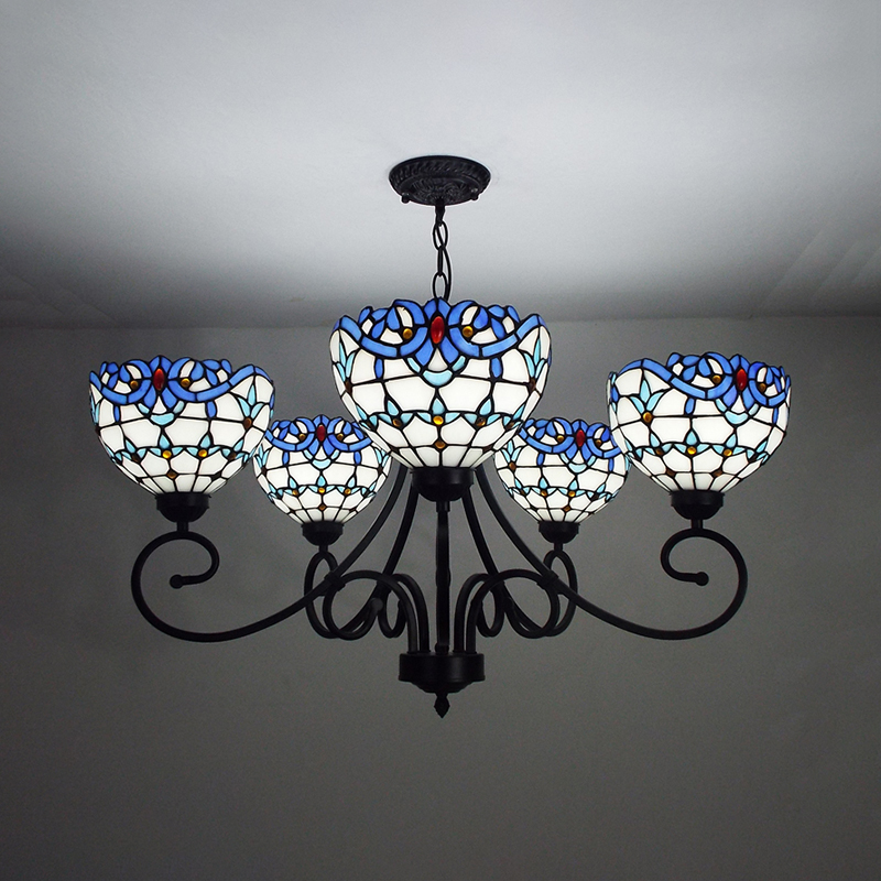 Details about Tiffany Style Baroque Stained Glass Chandelier Indoor Ceiling Light Fixture