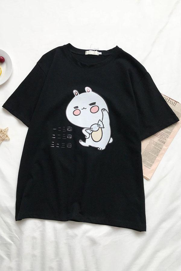 Cute Girls Short Sleeve Crew Neck Rabbit Print Oversize T Shirt