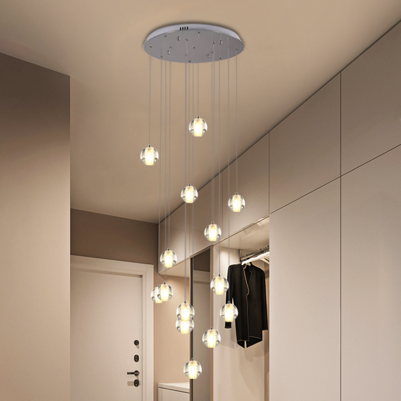 Global Bubble Crystal Cluster Pendant Contemporary 14 Bulbs White Hanging Ceiling Light with Round/Linear Canopy