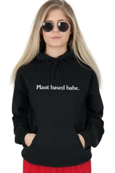 fashion simple letter plant based babe long sleeve black cotton drawstring hoodie