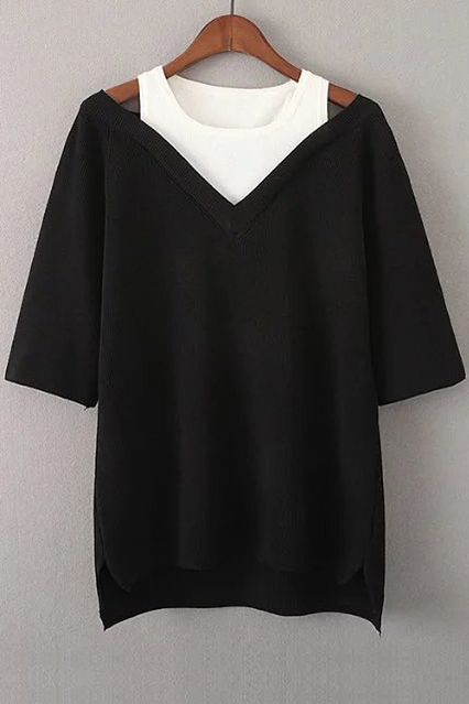 New Fashion Fake Two-Piece Round Neck Half Sleeve Color Block High Low, Black