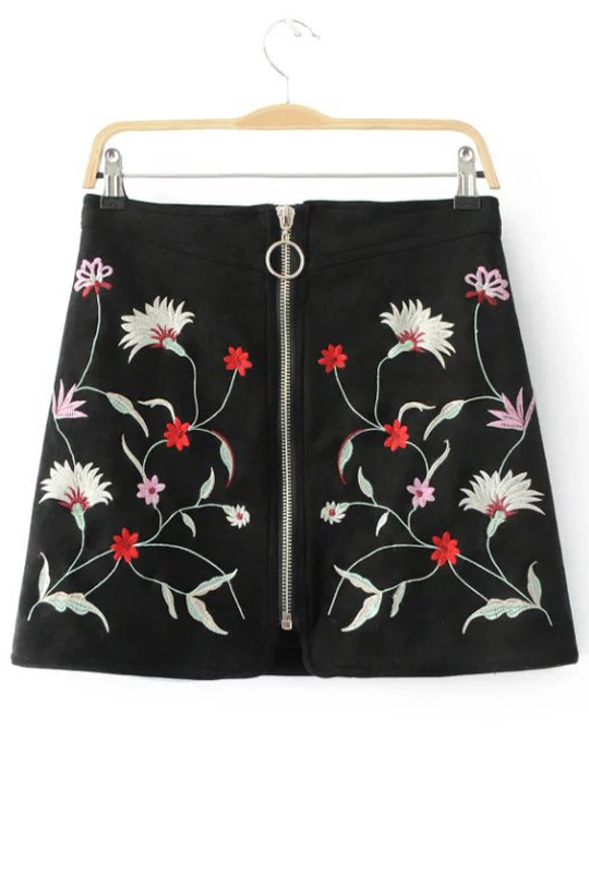 New Arrival Zipper Front Embroidery Floral Pattern Mini A-Line Skirt, Black