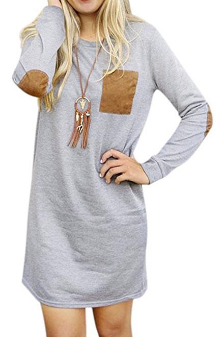 Women's Round Neck Long Sleeve Elbow Patch T-Shirt Dress, Gray