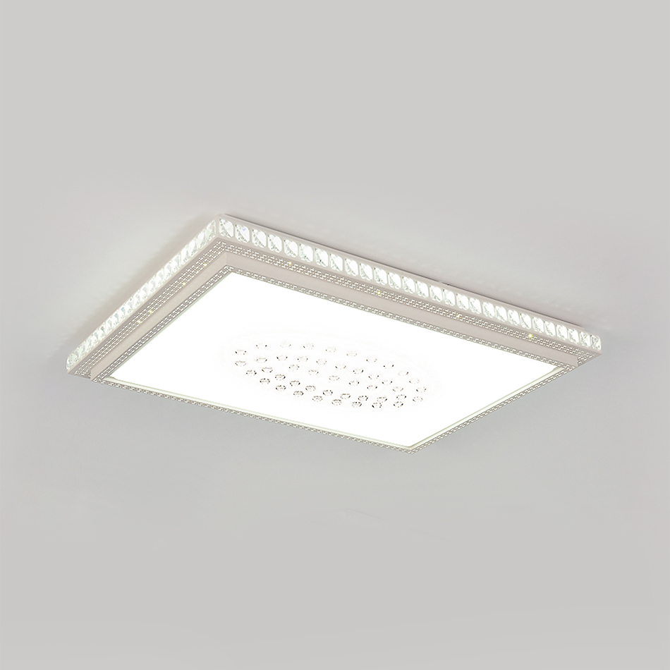 Modern rectangle flush ceiling light clear crystal decoration led