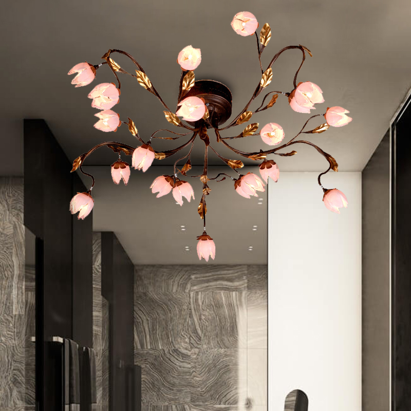 Countryside Floral Ceiling Lamp 20 Heads Metal LED Semi Flush Mount in Dark Brown for Living Room
