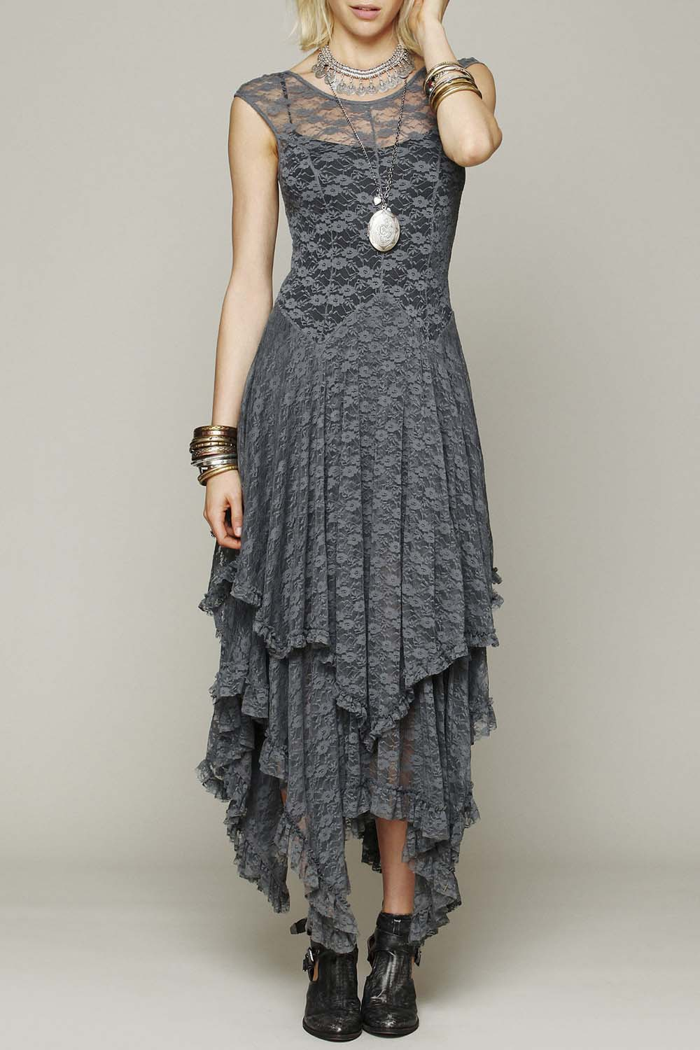 Women's Sexy Sleeveless Floral Lace Tiered Long Irregular Party Dress, Gray