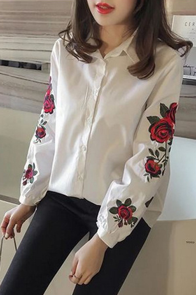 Embroidery Floral Long Sleeve Single Breasted Lapel Shirt, White