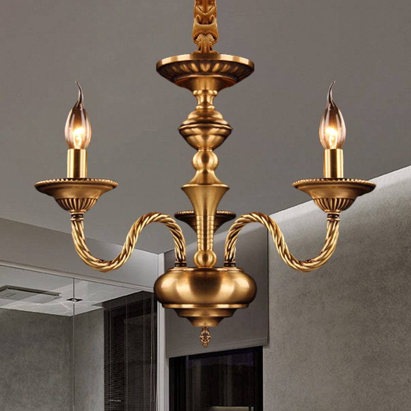 4 Lights Drum Chandelier Colonial Style Clear Glass Pendant Light with Candle in Brass for Hotel