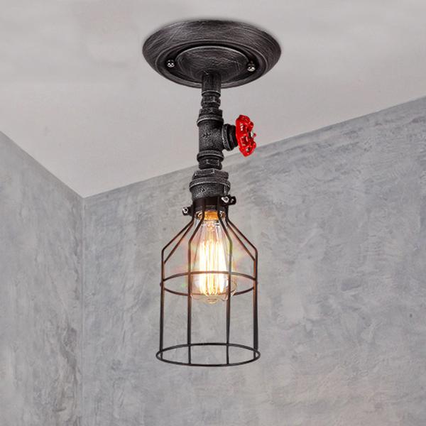 Brushed Iron Single Light Open Cage Semi Flush Ceiling Fixture