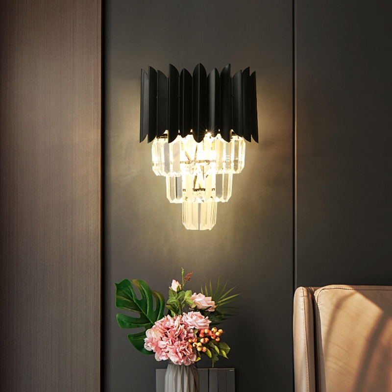 Crystal Chandelier Wall Light Traditional 3 Lights Candle Wall Light Sconce in Amber for Bedroom Bedside