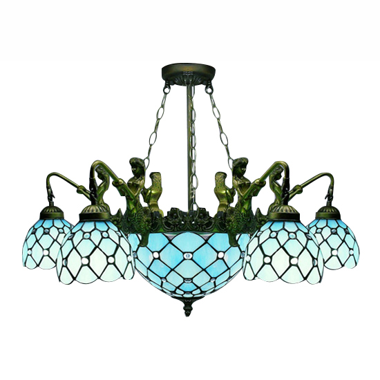 Teal accented Marie Therese five arm Chandelier | Ceiling