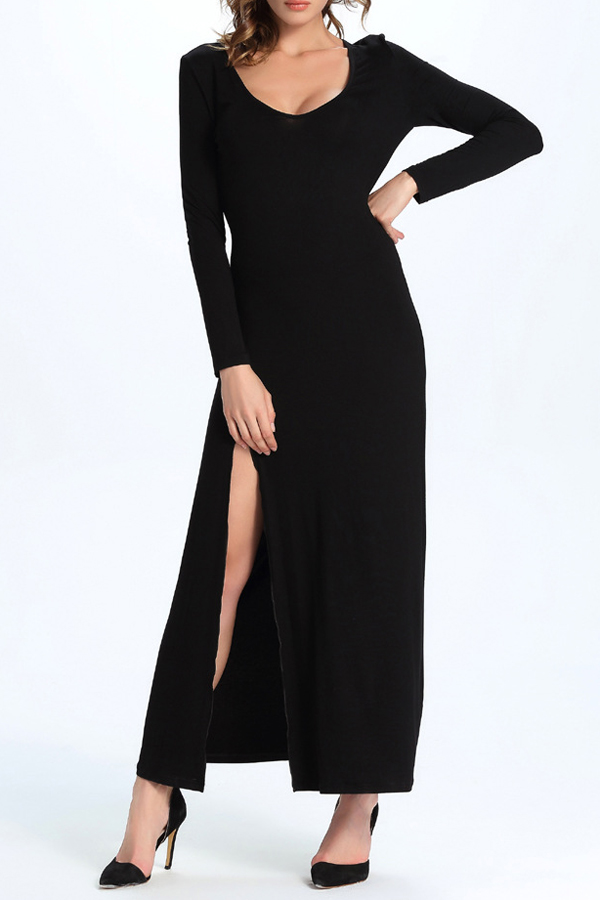 Sexy Round Neck Split Side Long Sleeve Plain Maxi Party Dress, Black