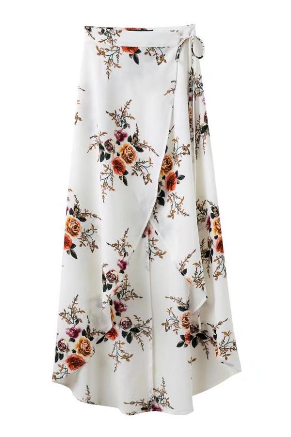 Floral Pattern Tie Waist Asymmetrical Midi Wrap Skirt Beautifulhalo Com