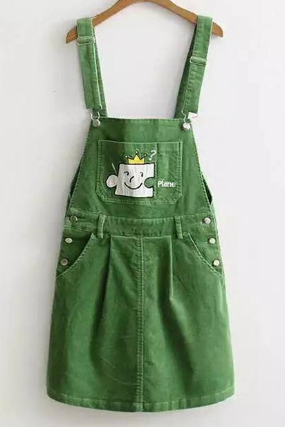 83913b8b98 Cartoon Embroidered Straps Sleeveless Corduroy Overall Midi Dress with  Pockets
