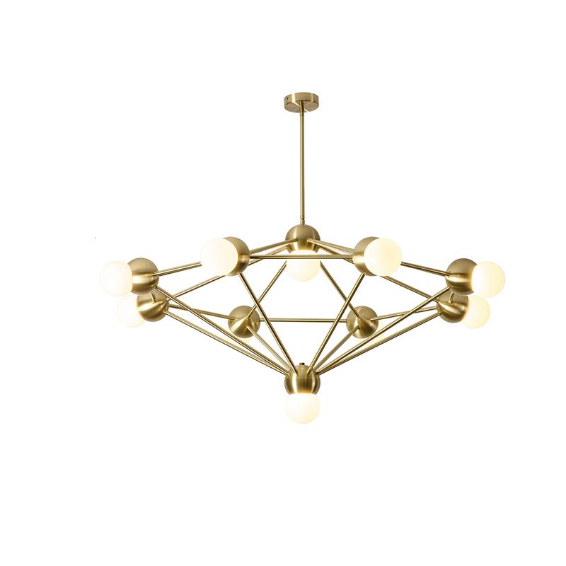 Metal Frame Diamond Chandelier Light Mid Century Modern Brushed Brass Pendant Lamp