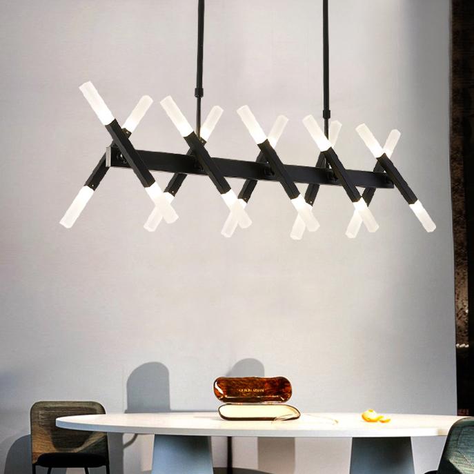 Contemporary Led Chandelier Black Metal Scissors Pendant Lighting