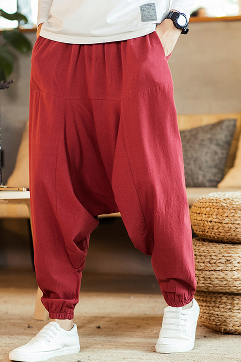 Domple Mens Chinese Style Cotton Linen Loose Fit Harem Cropped Pants