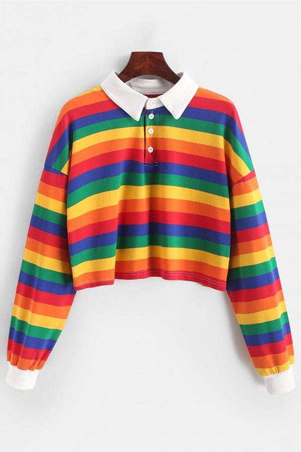 Ladies Rainbow Striped Print Casual Sweatshirt Long Sleeve Loose Tops Blouse