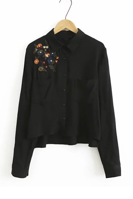 Embroidery Floral Pattern Single Breasted Lapel Shirt with Two Pockets, Black