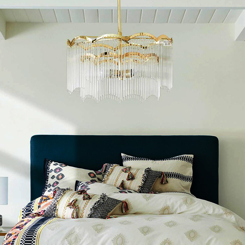 2 Tier Waterfall Hanging Lights Modern Crystal Fringe Unique Hanging Chandelier For Bedroom Beautifulhalo Com