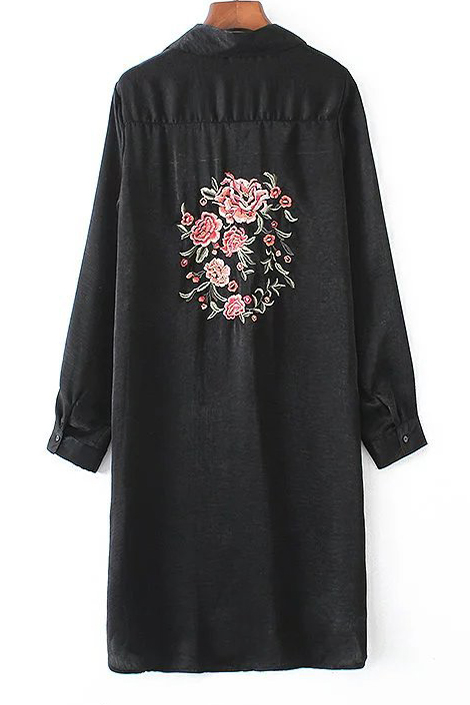 Embroidery Floral Pattern Long Sleeve Single Breasted Tunic Shirt, Black
