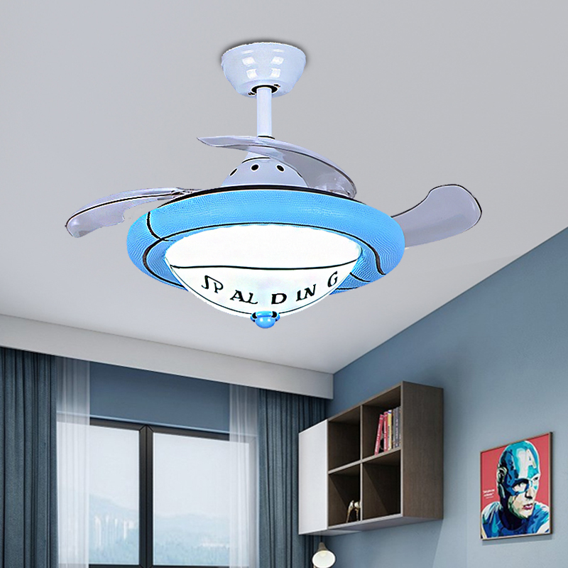 Sport Theme Bowl Fan Light Acrylic And Metal 1 Light Ceiling Fan For Adult Kids Bedroom Beautifulhalo Com