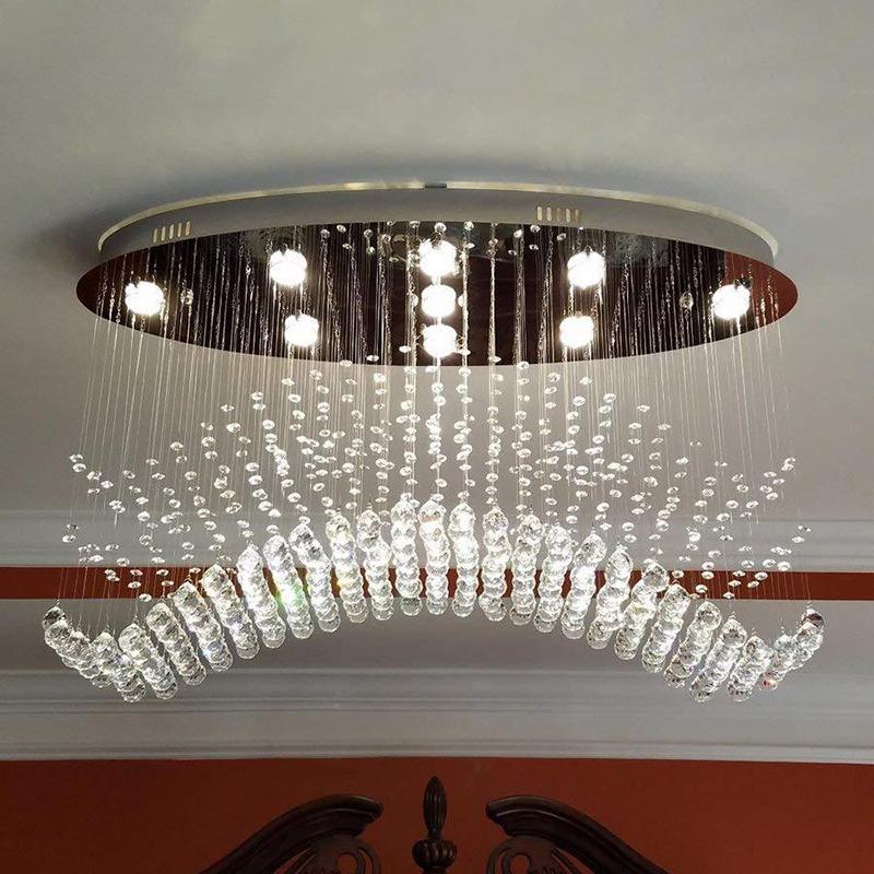 Cascade Bedroom Flushmount Lighting Modernism Crystal Ball LED Chrome Ceiling Flush Mount