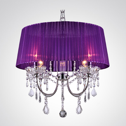 Sheer Shade Crystal Ball Chandelier white | Drum shade