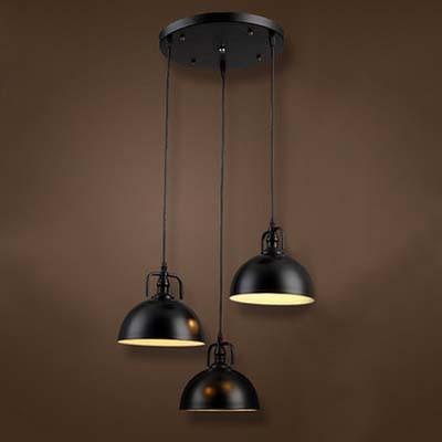 Three Light Bowl Shade Multi Light Pendant in Black Industrial Style