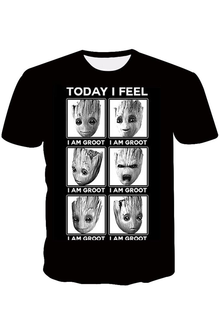 Funny Cartoon Images Of Boys funny cute cartoon emoticon pattern short sleeve black t-shirt for