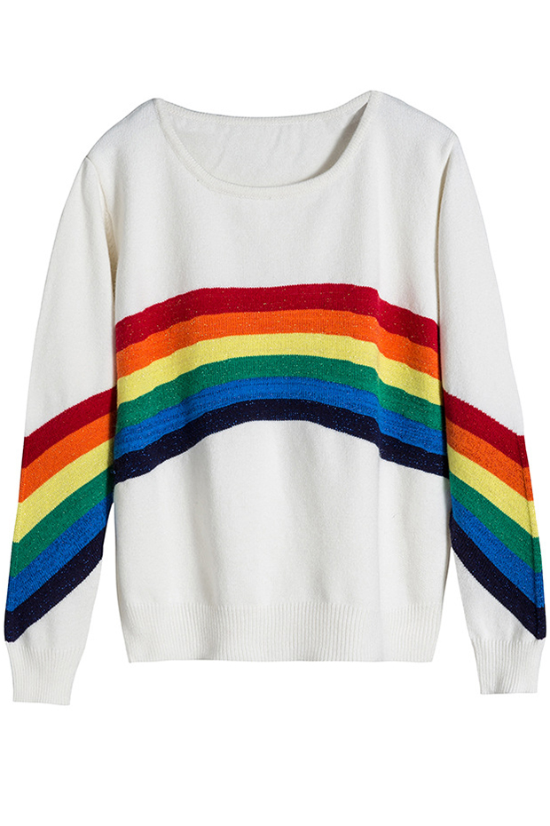 2b13c41b7 New Stylish Color Block Striped Round Neck Long Sleeve Pullover ...