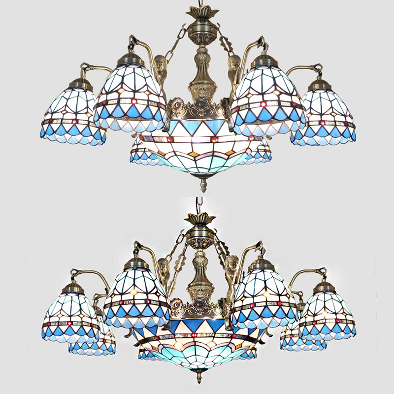 Dome Living Room Chandelier Stained Glass 9 Lights Tiffany Style Victorian Suspension Light with Crystal
