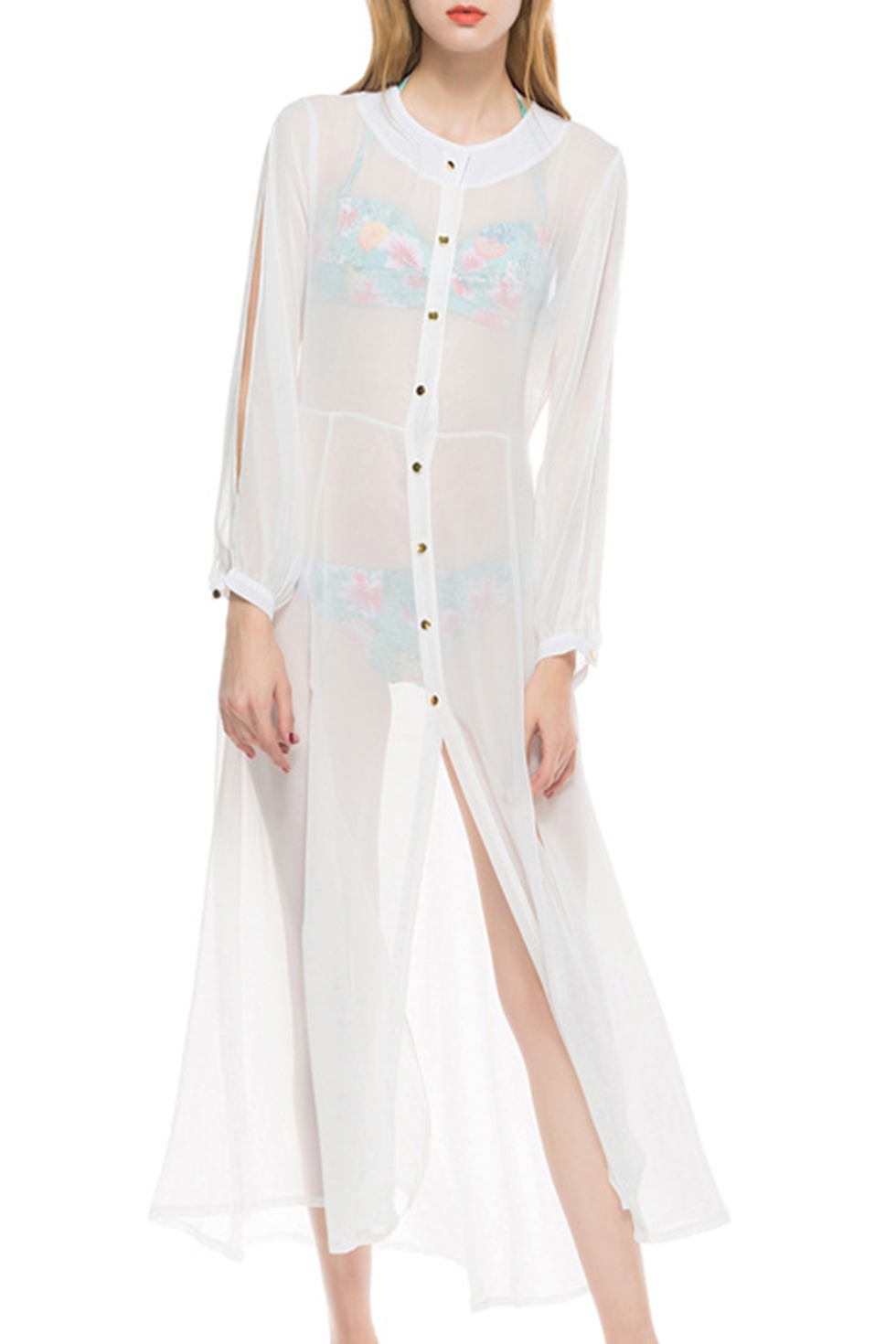 Hot Stylish White Sheer Chiffon Long Sleeve Button Down Sunscreen Holiday Maxi Shirt Dress Bikini Cover Up Dress