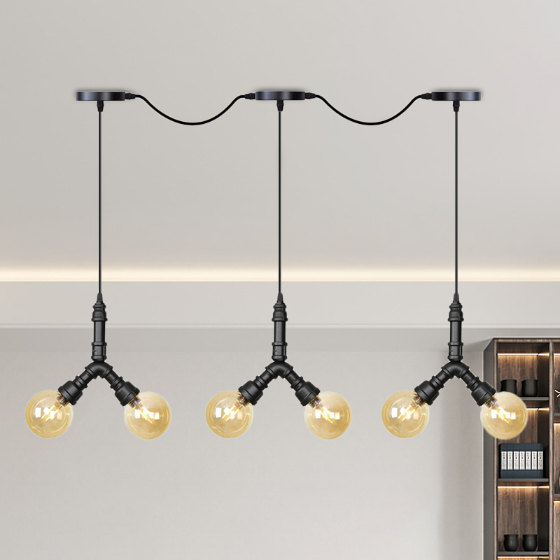 2 Heads Cylinder Chandelier Light Industrial Black Frosted Glass Pendant Light for Restaurant with Plant Deco