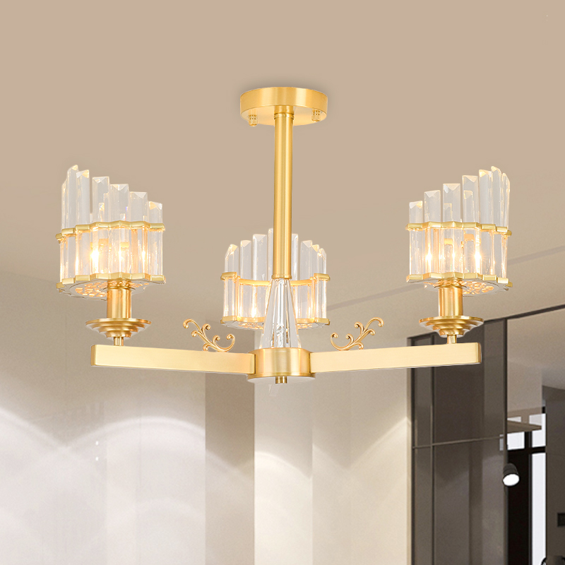 Bedroom Tapered Chandelier Metal Classic Gold Ceiling Light with 14