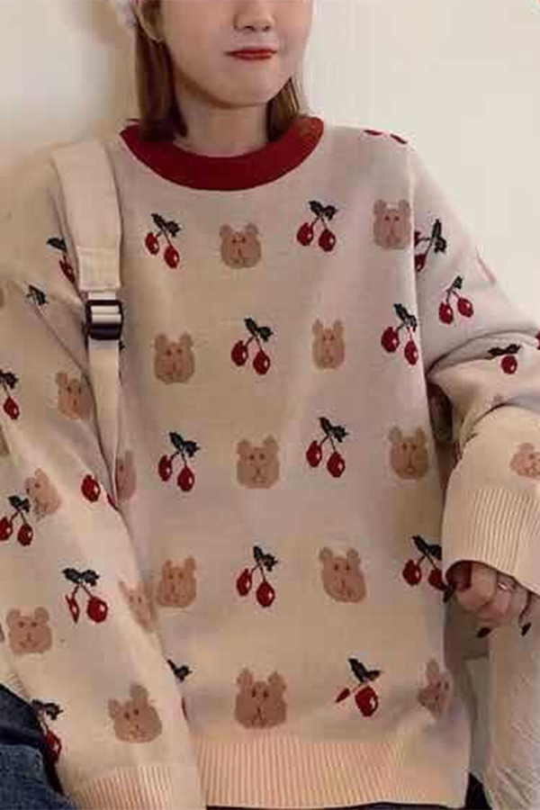 Women Cute Kawaii Long Sleeve Round Neck Cherry Bear Printed Loose Fit Pullover Sweater In Pink Beautifulhalo Com Fitted women in swimwear doing photos on smartphone camera on sunny day summer party. women cute kawaii long sleeve round neck cherry bear printed loose fit pullover sweater in pink