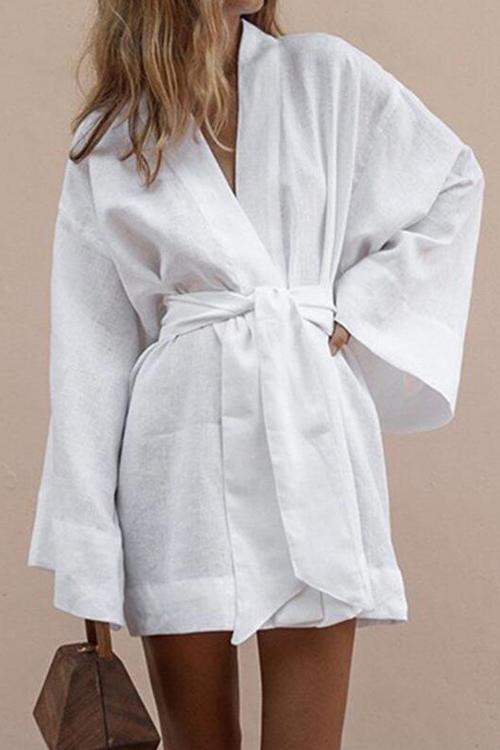 Womens Fancy Plain Bell Long Sleeve Tied Waist Mini Linen Shirt Dress